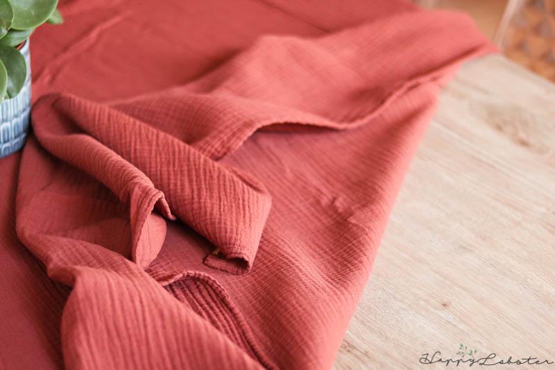 Nappe double gaze de coton couleur rouille